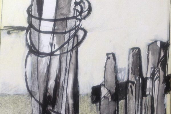 Schetsen in frankrijk 30x30 inkt en verf11