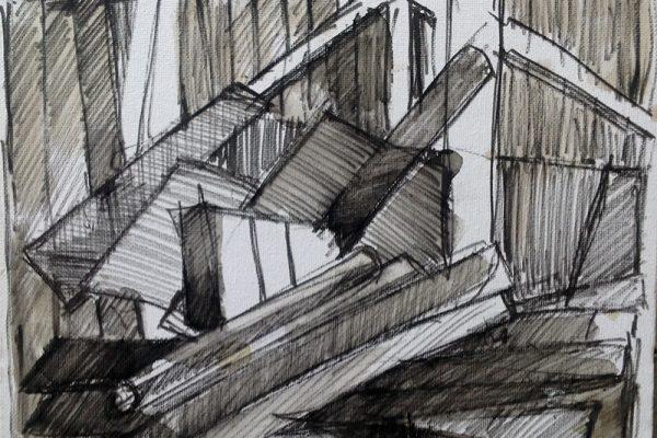 Schetsen in frankrijk 30x30 inkt en verf3